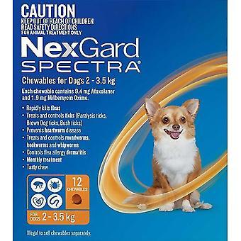 Nexgard Spectra X-Small 2 - 3,5 kg (4,50 - 8 lb) - 12 pack