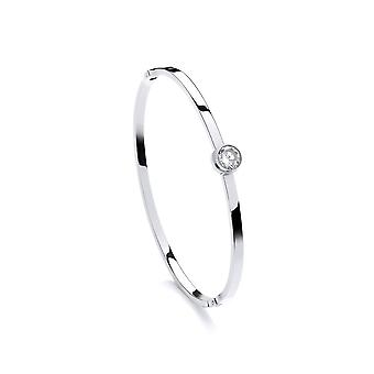 David Deyong Stainless Steel Solitaire Cubic Zirconia Fine Bangle