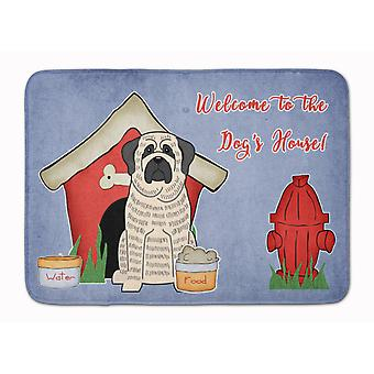 Dog House Collection Mastiff Brindle White Machine Washable Memory Foam Mat