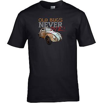Gamla buggar dör aldrig VW - Bilmotor - DTG Tryckt T-shirt