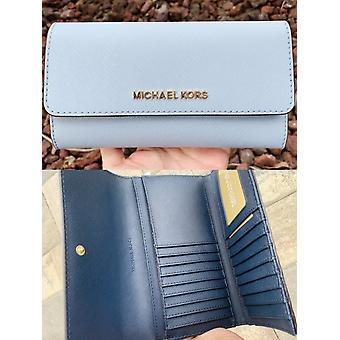 Michael kors jet set travel large trifold wallet pale blue navy