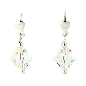 TOC Girls Sterling Silver Iridescent Crystal Drop Earrings 24mm