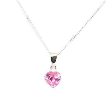 """The Olivia Collection Sterling Silver Pink Cz Heart 6mm Pendant On 18"""" Chain"""