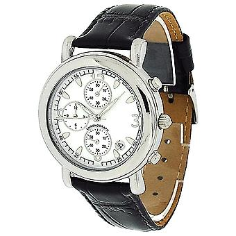 Compton & Woodhouse Mens Chronograph Date White Dial Black Leather Strap Watch