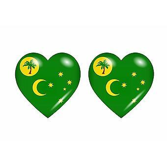 2x Stick klistermärke flagga hjärta CC cocos öar ö
