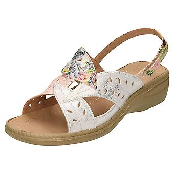 Cushion-Walk Metallic Multi Slingback Open Toe Sandals Flexible Wedge