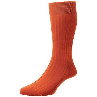 Pantherella Laburnum Merino Wool Socks - Burnt Orange