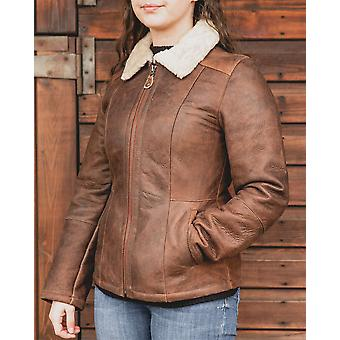 Nordvek Womens Sheepskin Jacket - Aviator Nappa Leather Coat # 707-100