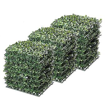 "Yescom 24-Pack 10""x10"" Artificial Boxwood Hedge Mat with Cable Ties UV Privacy Fence Screen Greenery Panel Outdoor Decor"