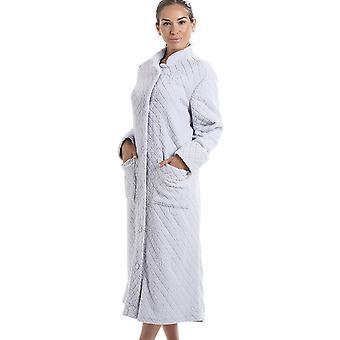 Camille licht grijze zachte Fleece Floral Full Length knop omhoog Housecoat