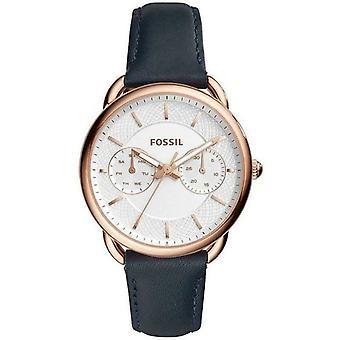 Fossil ES4260 Vit Dial Navy Blue Leather Band Unisex Watch