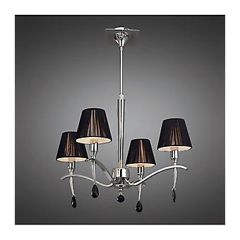 Siena Pendant Lamp Round 4 Bulbs E14, Polished Chrome With Black Lampshade And Black Crystal