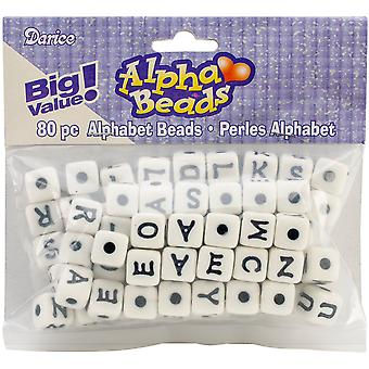 Alphabet Beads 12mm 80/Pkg-White W/Black Letters