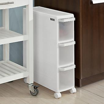 SoBuy FRG41-K-W, 3 Drawers Plastic Storage Drawer Unit on Wheels, Trolley with Drawers, Slide Out Cabinet Rack