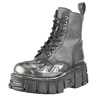 New Rock 8 Eyelet Silver Flame Unisex Platform Boots in Black Silver