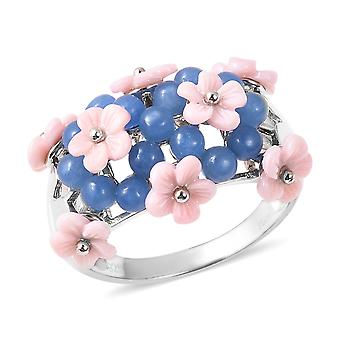 Mother of Pink Pearl Sterling Silver Flower Ring Blue Jade, 6,5 Ct TJC