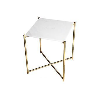 Gillmore Vit Marmor Fyrkantigt sidobord med mässing cross base