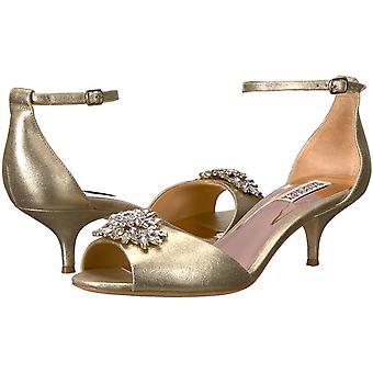 Badgley Mischka Womenăs Sainte Heeled Sandal, Platino, 7,5 M SUA