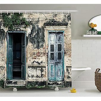 Rustic Shower Curtains Printed Doors Of An Old Rock House With French Frame