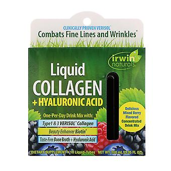 Irwin Naturals, Liquid Collagen + Hyaluronic Acid, Mixed Berry, 10 Liquid-Tubes,