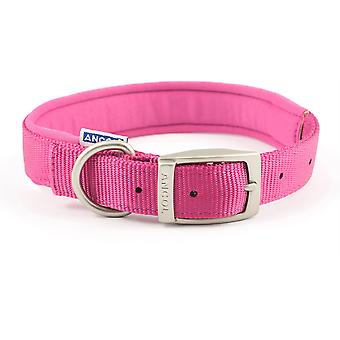 Ancol Padded Nylon Buckle Collar - Raspberry Pink - 20 inch