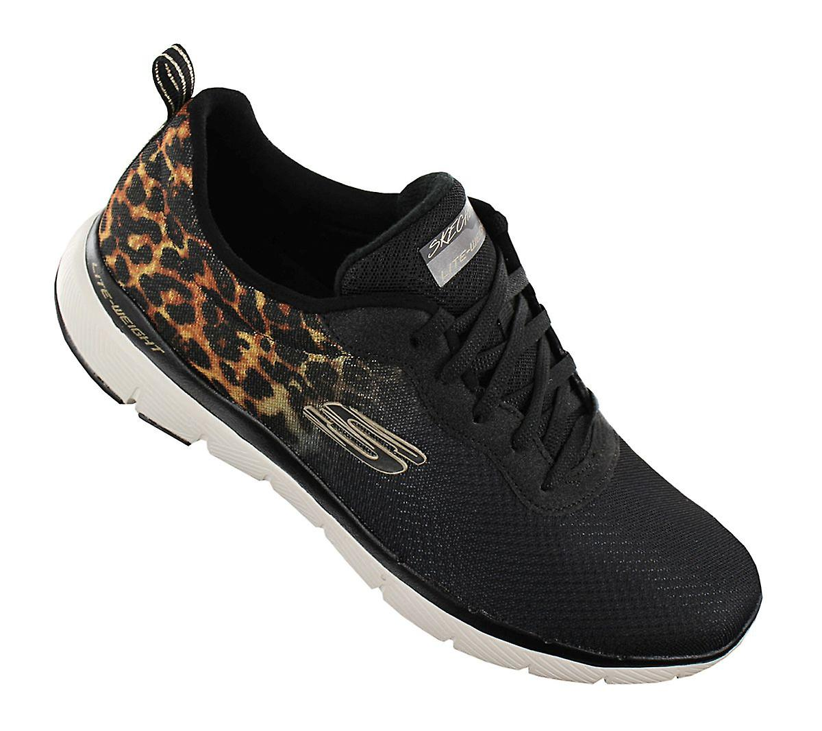 Skechers Flex Appeal 3.0 - Leopard Pounce - Women's Shoes Black 13476-BKGD Sneakers Sports Shoes
