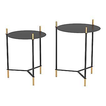 Modern Glam Black and Gold Nesting Side Table Set
