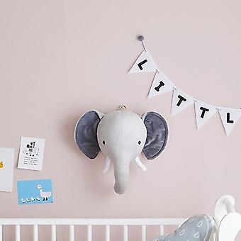 Plush Animal Heads Elephant Bear Deer Wall Decor For Children