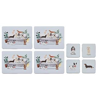 Cooksmart Curious Dogs Zestaw 4 placemats i coasters