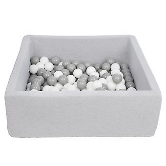 Hoyo de bola cuadrada 90x90 cm con 150 bolas blancas y grises