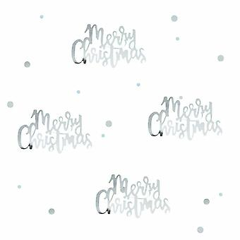 Silver script Merry Christmas Confetti Table Scatter Xmas Tables 14g