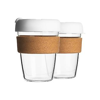 2 Piece Reusable Travel Mugs Set - Glass Tea, Coffee Cups with Silicone Lid, Cork Sleeve - Eco-Friendly - 350ml - White