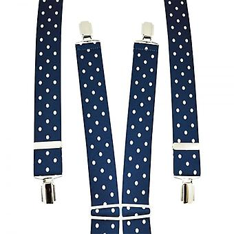 Solmiot Planet Navy & White Polka Dot Men's Trouser Braces - Hopea leikkeet