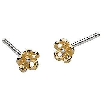 Dew Sterling Silver Dinky 3D Flower Gold Plate Stud Earrings 4491GD