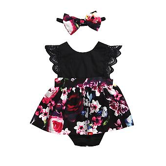 Newborn Baby Romper Tutu Dress Headband Floral Outfits Party Dress