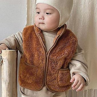 Autumn Winter Baby Thick Fleece Plush Vest Sleeveless Outerwear Kids Pocketcoat Jacket