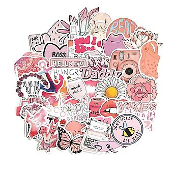 50 Pcs Mixed Cartoon Decals Pink Fun Stickers For Styling - Voiture, Vélo,