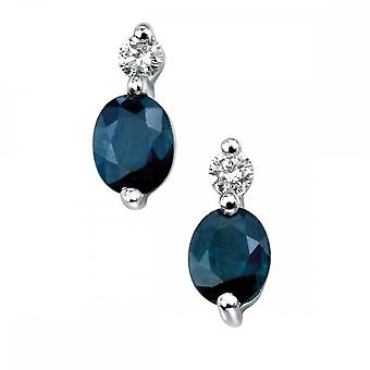 Elements Gold Elements 9ct White Gold Diamond Sapphire Earrings GE753LZ475