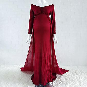 Baby Shower Jersey Dresses- Maternity Photography Long Dress With Cloak Fitted Pregnancy Dresses
