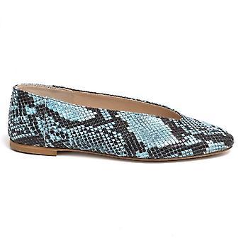 Pantofi pentru femei Blue Balerina din piele snake-print