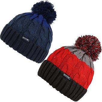 Regatta Kids Davin lll Chunky kaapeli neule talvi lämmin raidallinen beanie bobble hattu