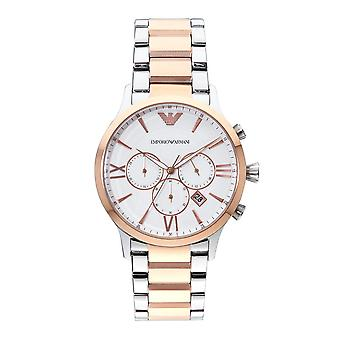Armani Ar11209 Giovanni Silver & Rose Gold Mens Chronograph Watch