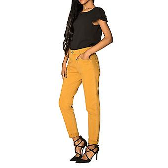 Women's Mom Jeans High waist loose stretch pants wide leg cropped Casual carotte