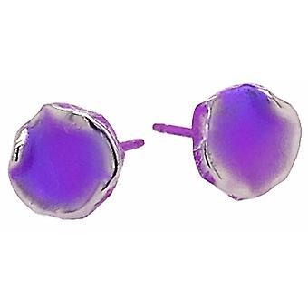 Ti2 Titanium Squashed 9mm runda örhängen stud - Imperial Purple