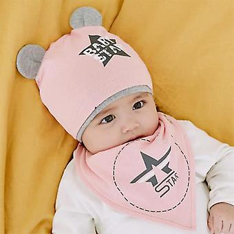 Autumn, Winter's Hat, Bib Sets, And, Cotton Solid Color, Scarf Cap Two-piece