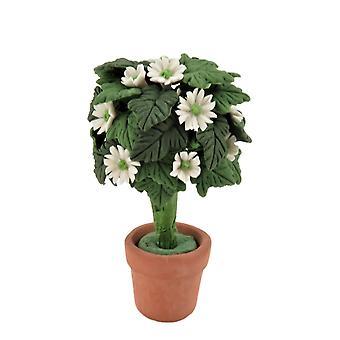 Dolls House Standard White Daisy Tree Bush Terracotta Pot Garden -lisävaruste