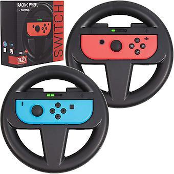 Orzly steering wheels for nintendo switch joy-cons, racing wheels for mario kart 8 deluxe [mariokart