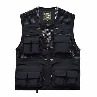 Outdoor Summer Tactical Fishing Vest Jackets, Men Safari Jacket, Multi Pockets,