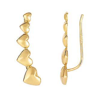 ك 14 القلب تخرج الذهب الأصفر سلسلة متسلق أقراط