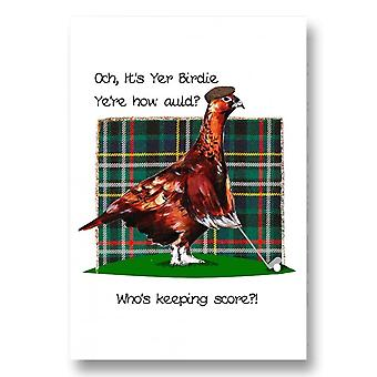 Embroidered Originals Och Its Yer Birdie Yere How Auld Birthday Card Bd203